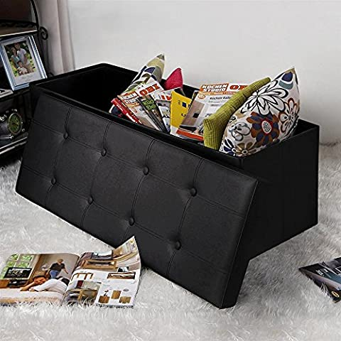 tinkertonk Large Faux Leather Folding Ottoman Storage Box Stool Bench