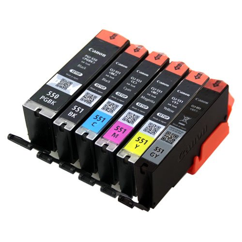 Original Canon Setup Patronen Set Druckerpatronen mit Chip PGI-550 CLI-551 Druckerpatronen für CANON PIXMA Drucker IP8700 IP8750 MG6300 MG6350 MG7100 MG7150 MG7500 MG7550 Series (6er Set)