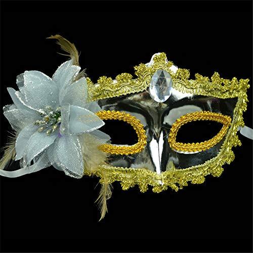 NUOKAI Mask_Halloween Painted Maske Prinzessin Maske Seite mit Blume Plating Beauty Maske, Silber