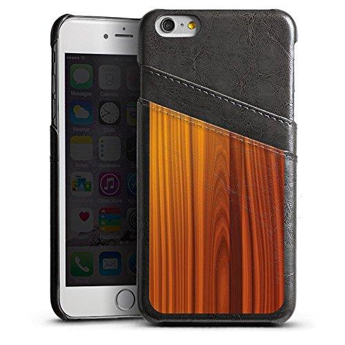 Apple iPhone 5s Housse étui coque protection Noyer Look bois Grain Étui en cuir gris