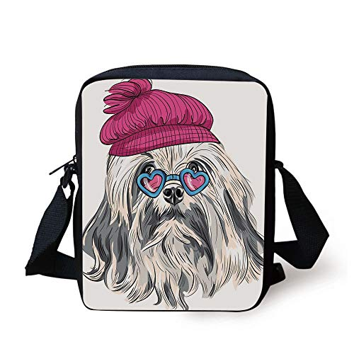 Indie,Lion Bichon Lowchen Breed Cute Dog with Heart Shaped Glasses and French Hat Print Decorative,Grey Pink Blue Print Kids Crossbody Messenger Bag Purse