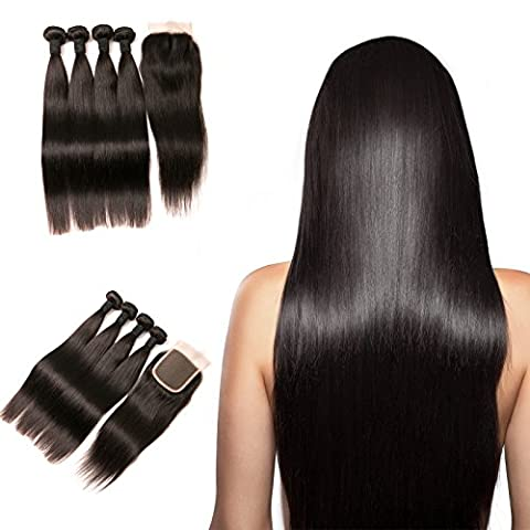 DAIMER Peruvian Straight Bundles with Closure 4 Bundles Human Hair Weave and Swiss Lace Top Closure Bleached Knots 4