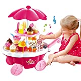 #10: AsianHobbycrafts Pretend Toy Ice Cream Sweets Cart with Music Role Play Toys for Boys & Girls
