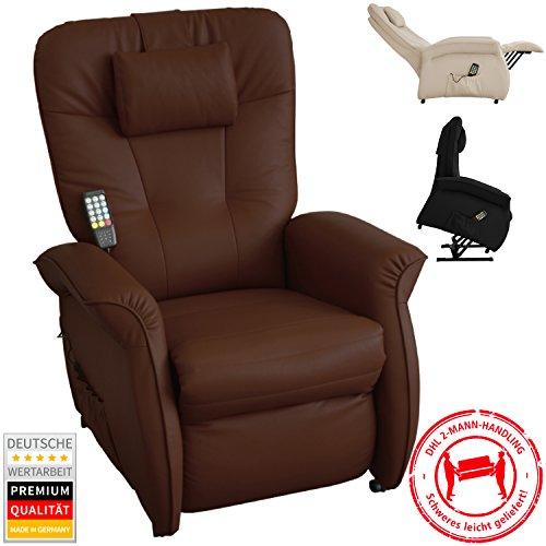 THRONER EXKLUSIV Massagesessel (Schlafsessel) mit elektrischer Aufstehhilfe und 5-Punktmassage in Mocca, Made in Germany