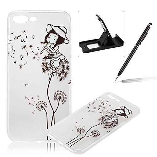 Per iPhone 7 Plus 5.5 Custodia morbido,Herzzer Mode Crystal Creativo Elegante fiori [Fuck]Quadro Dipinto Design trasparente case cover,Protettivo Skin in Liscio Smooth Toccare Unico Molto sottile Mod Dandelion ragazza