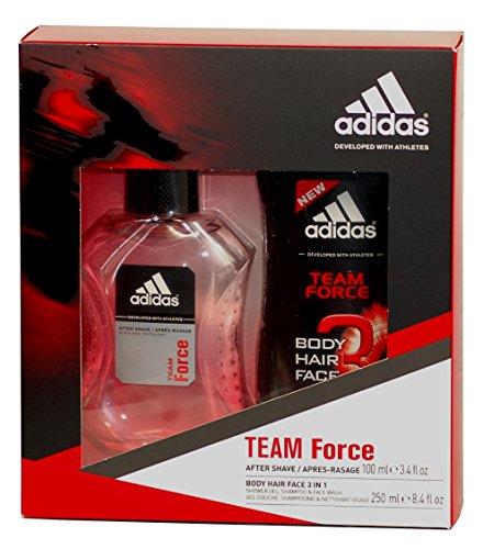 adidas TEAM FORCE Geschenk-Set für IHN mit After Shave 100ml & 3 in 1 Duschgel 250ml