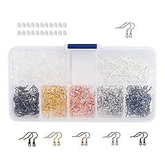 Idea Regalo - Naler 180 Ganci per Orecchini Fili dell'orecchio + 200 Tappi Posteriori dell'orecchino di Gomma con Scatola Assortita per Gioielli Fai- da-Te Creazione di Gioielli (6 Colori)