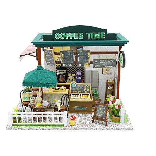 Miniatur-50 Licht-set (Longra Spielzeug 3D Holz Puppenhaus mit Licht Miniatur Kaffee Haus Puppenhaus Bausatz Holz Modell Set DIY Modell Kit-Tops Spielzeug für Kinder alt up Erwachsene)