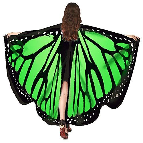 WOZOW Damen Schmetterling Schmetterlingsflügel Kostüm Faschingkostüme Poncho Schal Tuch Umhang für Party Cosplay Karneval Fasching (Grün)