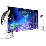 FiVan Disco Party Banner Hintergrund - blendfreie Rückseite aus Vinyl bis 80er 90er Jahre Party Dekoration Fotobooth Hintergrund, D-6169, 8x6ft(250x185cm)