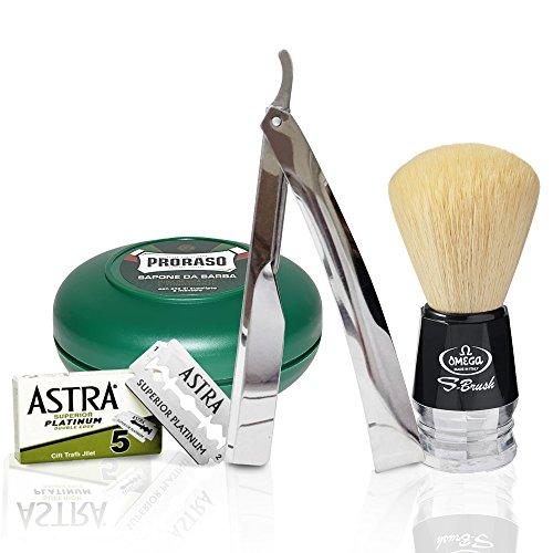 Set Rasoio a mano libera in acciaio inox | Proraso sapone da barba in ciotola verde 75ml | Pennello da barba Omega in Pura setola | 5 Lamette da barba Astra Superior Platinum