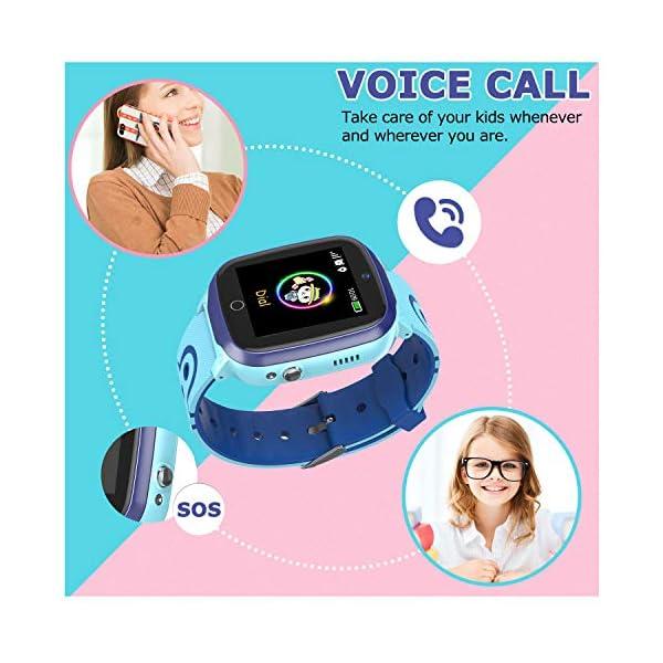 MeritSoar Tech GPS Smartwatch para Niños - WiFi + GPS + LBS Tracker Phone Smart Watch con Contador de Pasos Geo Fence Cámara Calling SOS Chat de Voz Juego para 3-12 Niños Compatible iOS/Android 4