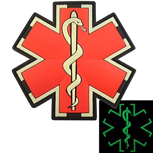 Glow Dark EMS EMT Medic Sanitäter Paramedic Star of Life Morale Taktisch Tactical PVC 3D Fastener Aufnäher Patch (Uniform Star)