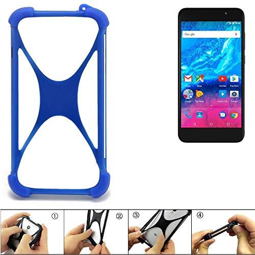 K-S-Trade Bumper für Archos Core 55P Silikon Schutz Hülle Handyhülle Silikoncase Softcase Cover Case Stoßschutz, blau (1x)