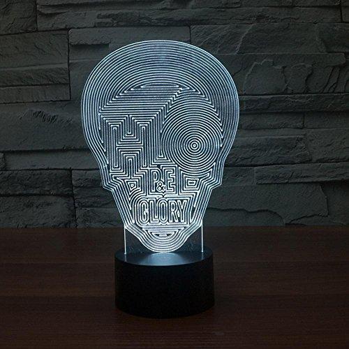 ZY&ZQ Nachtlicht Stimmung Totenkopf Schädel Halloween 3D Stereo-Lampe bunten Touch-Energiesparlampe