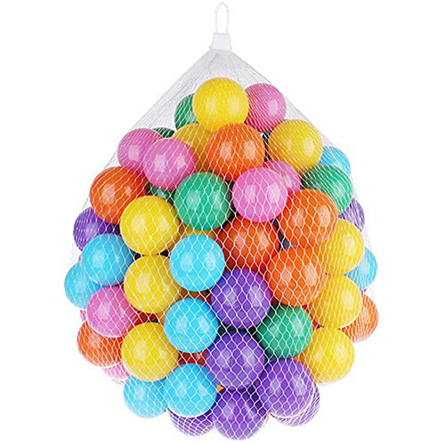 FOONEE Ball Pit Balls 100, Colorful Pit Balls con Bolsa De Malla De Almacenamiento, Crush Proof Plastic Ball, Play Tents, Kiddie Pools, Parque Infantil, Saltos De Castillos, Bounce Houses