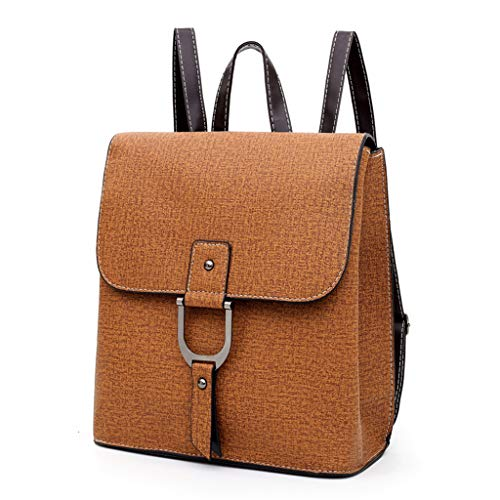 Damen Leder PU Rucksack Vintage Travel Daypack College Bookbag für Damen, Schulrucksack Bag-Braun -