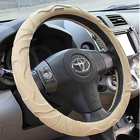 EarthSafe® Copertura del volante dell'automobile, Wrap Wheel morbida Steering Confortevole lusso Lamb cuoio della pelle (S: 36cm / 14 '') (Beige)