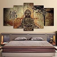 FEIF HD Impreso Marco Moderno Pintura De La Lona Wall Art 5 Panel Figura De Buda