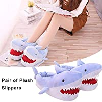 Sanmubo Shark Slipper, Novelty 3D Unisex Shark Plush Slippers Nonslip Winter Slippers For Men Women Kids - 36-42
