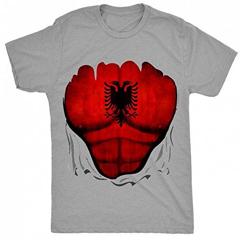 8TN Albania Flag Muscle Rip Unisex - Kinder T Shirt - Grau - 5-6 Jahre (You Tube Rip)