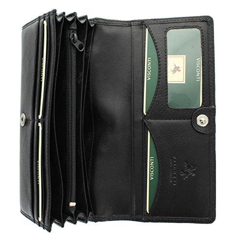 Portafoglio Flap Over in Pelle Visconti Collezione Heritage BUCKINGHAM HT35 Nero Nero