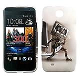 handy-point Gummihülle Silikonhülle Gummi Silikon Schale Schutzschale Schutzhülle Hülle für HTC Desire 300 Roboter mit Gitarre