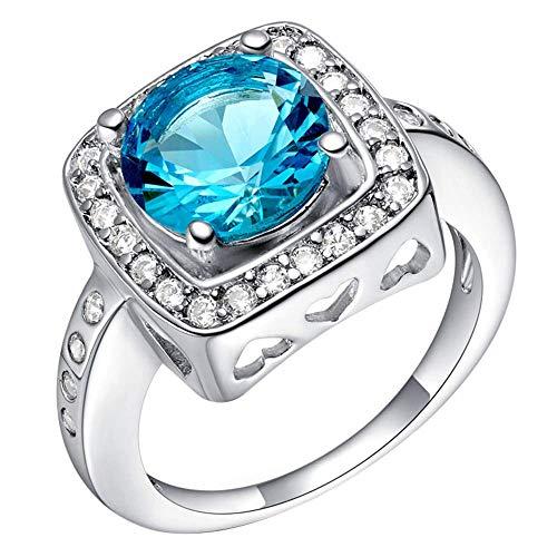 Purmy donne anello bianca placcato oro fede nuziale con blu cubic zirconia 18k bianca placcato oro bloccare modello design dimensione 12