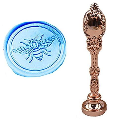 Mnyr Luxe Lovely Bee cachet de cire d'étanchéité vintage personnalisée Photo Logo Monogramme Invitation de mariage en cire d'étanchéité Tampon en métal Paon Lot de poignées de rose gold