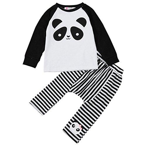 Bekleidung Longra Kinder Neugeborene Baby Jungen Mädchen Kleidung mit Panda Langarm T-shirt + Streifen Hosen Baby Outfits Kleider Set Kindermode Kinderbekleidung (1-4Jahre) (110CM 3Jahre, (Für Ideen Ein Kostüm Panda)