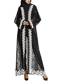 Zhhlinyuan Branché Dentelle Les Musulmans Dubai en Vrac Peignoir Islamique  Toute la Longueur Cardigan Robe Arabe Vêtements Maxi Robes… 8c7c5e9d21a