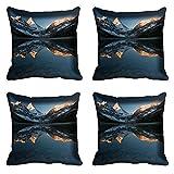 meSleep Nature Digital Kissenbezug, Bedruckt Set von 4PCS Grau Sofa Taille Überwurf Zeichnen Raum Polyester Kissenbezug Art Deco 20