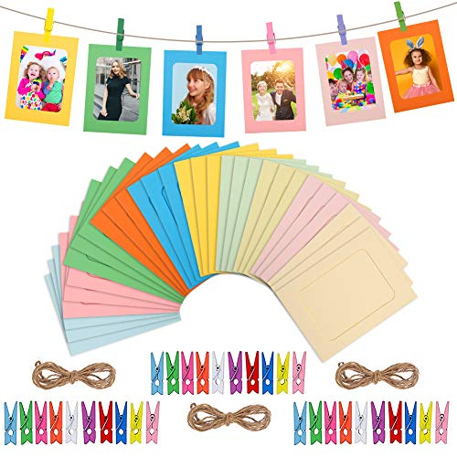 Tagaremuser 30 Pcs Paper Photo Frame DIY Creative Retro Kraft Paper Picture Mats Hanging Album Frame with Mini Clips and Hemp Ropes for Home Office(Colorful)