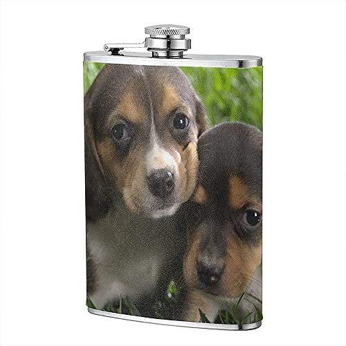 Tier Tiere Tierbabys Beagle Beagles Hund Welpen Flachmann Tasche Flasche Flagon 8 Unzen Portable Edelstahl Flagon Camping -
