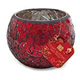 Heart & Home Teelichthalter Rund Mosaik Rot, 200 g