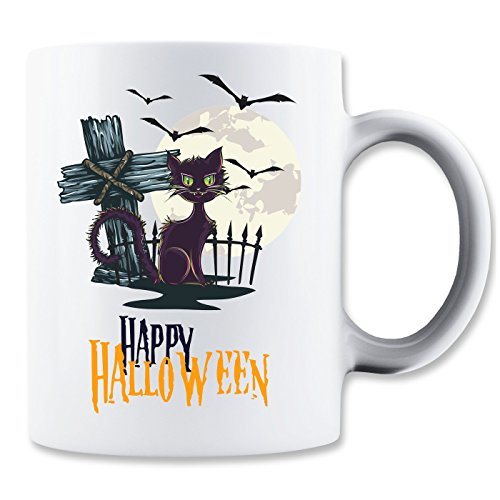 Happy Halloween Cat Cross Bats Mug