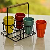 #10: Homesake Ceramic Cutting Chai Glass With Stand, Multicolor Ceramic Glasses (Set Of 4), Diwali Gifts