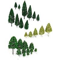 WINOMO 27pcs modèle arbres arbres miniatures Trains Railways paysage paysage Architectural arbres échelle 1:50