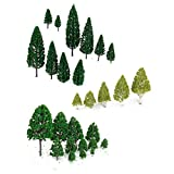 WINOMO 27pcs Model Trees Miniature Trees Trains Railways Scenery Architectural Landscape Trees Scale 1:50