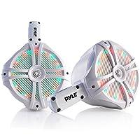 سماعات رأس بحرية مقاومة للماء - 6. 5 سماعات مكبر صوت ثنائي مع 1 تيرابايت، أضواء LED و200 وات - نظام صوت قارب ثنائي مع دعامة تثبيت - PLMRWB65LEW (أبيض)