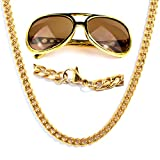 Panelize® Proll Lude Macho Proleth Angeber Hip Hop Rapper Bonzen Set - Panzerkette und Brille