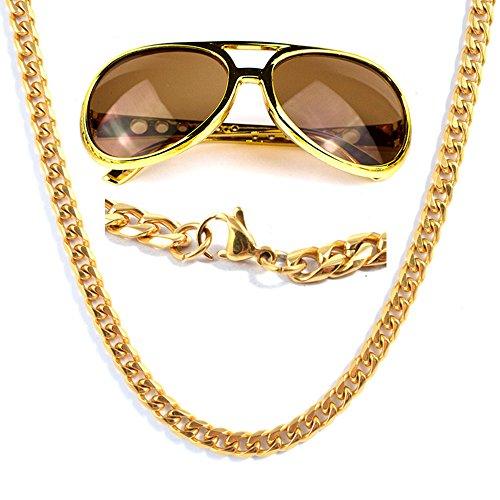 Panelize® Proll Lude Macho Proleth Angeber Hip Hop Rapper Bonzen Set - Panzerkette und Brille