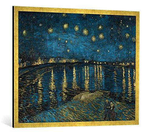 """Gerahmtes Bild von Vincent van Gogh """"Sternennacht über der Rhône"""", Kunstdruck im hochwertigen handgefertigten Bilder-Rahmen, 100x70 cm, Gold raya"""