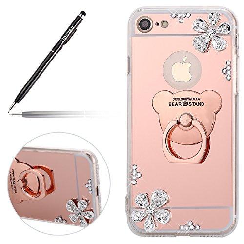 Uposao Kompatibel mit iPhone 7 4.7 Hülle Mirror Case Spiegel Handyhülle Bling Glänzend Diamant Blumen Silikonhülle TPU Case Durchsichtig TPU Schutzhülle mit Ring Ständer,Rose Gold