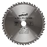 Wolfcraft 6740000 1 Lame de Scie Circulaire de Table Ø 250 Mm, Ct, Alésage Ø 30 Mm, 24 Dents, Surface Poncée, Denture Sablée, Alternée