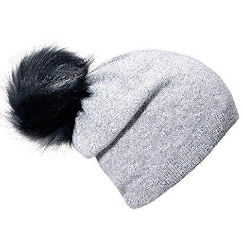 DonDon Damen Winter Bommelmütze mit abnehmbaren Bommel zum Wechseln grau