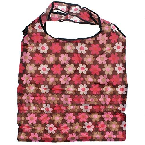 Zac 's Alter Ego® Einkaufstasche in/Waschtisch aufsteckbar Pocket Tasche Brown with Pink Shaded Floral Print