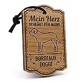 Fashionalarm Schlüsselanhänger Mein Herz schlägt für meine Bordeauxdogge aus Holz mit Gravur | Geburtstag Geschenk Idee für Rasse Hunde Besitzer