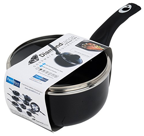Diamond 16Cm Non Stick Sauce Pan And Lid, Black