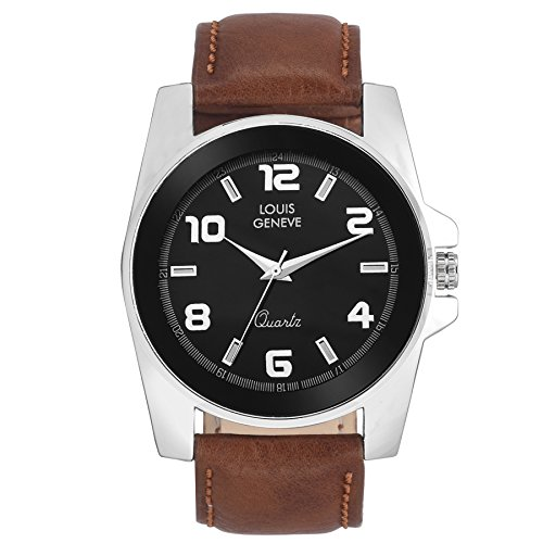 Louis Geneve Stylish Black Analog Round Wrist watch for Men & Boys